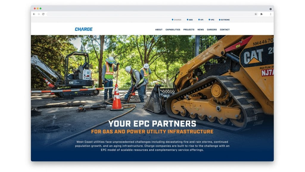 Charge home page design