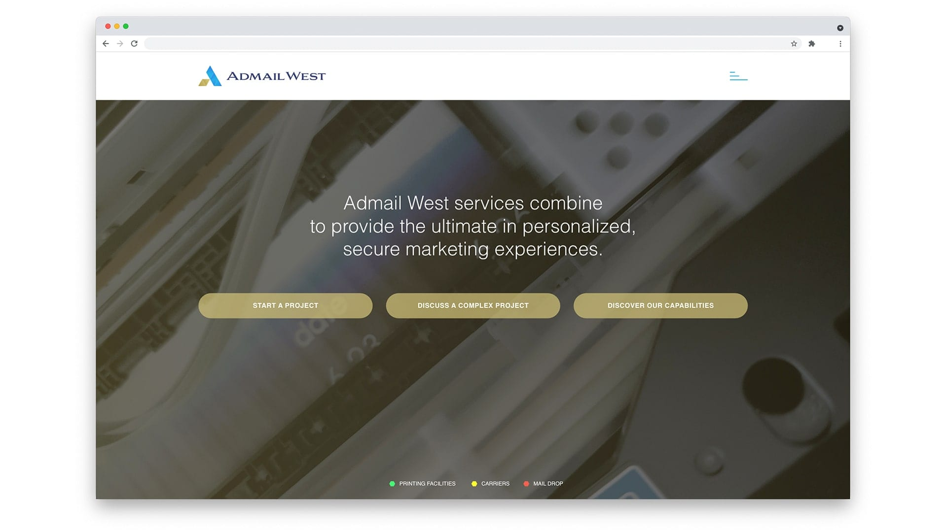 Admail West home page design