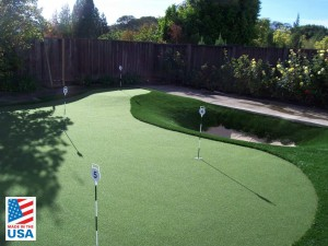 Synthetic putting green for backyard